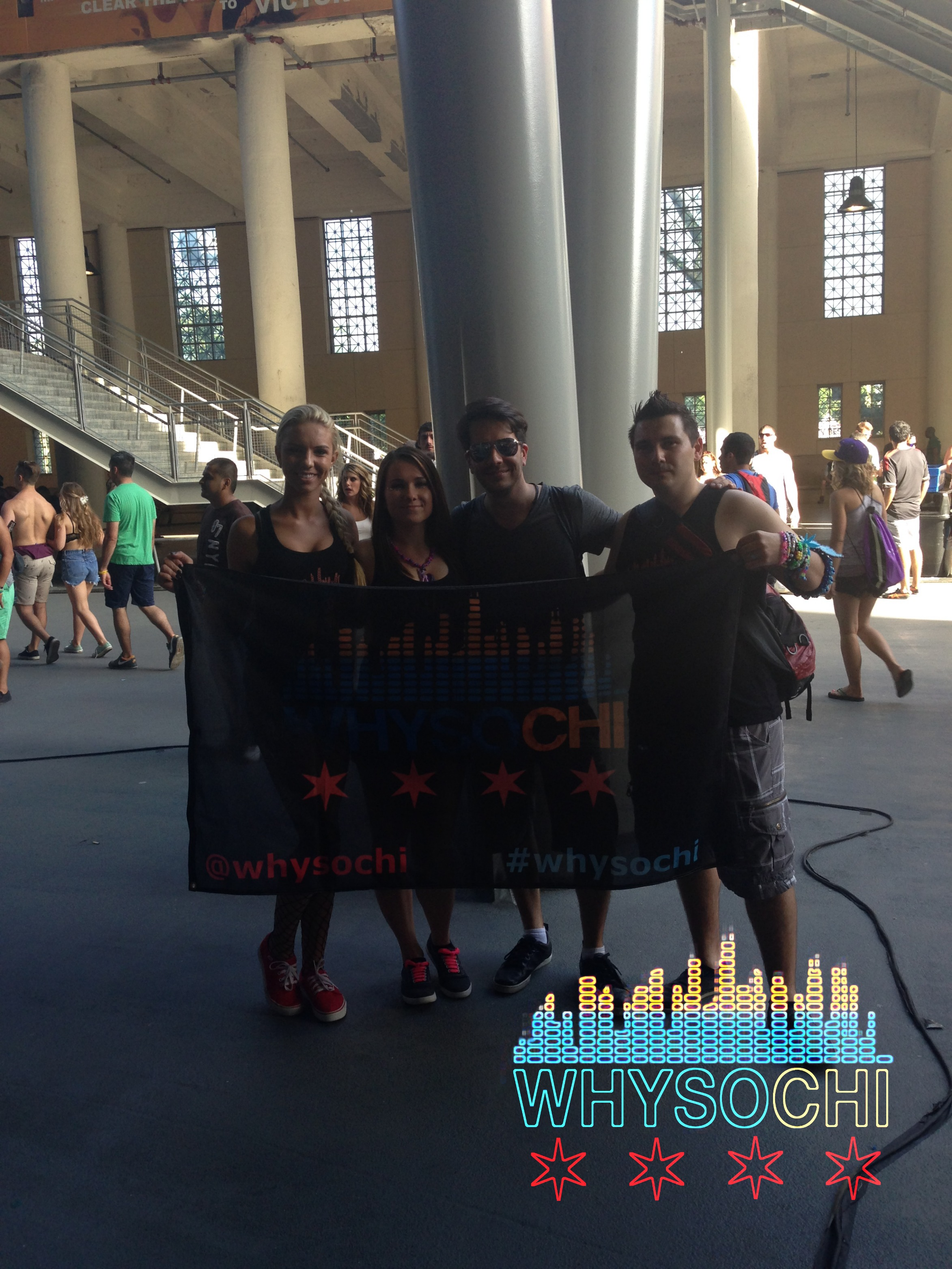 Pictured from left to right, Cathy,Izabela, Rj Pickens and Marcin post interview after his Silent Disco set at SAMF14 at Soldier Field in Chicago.