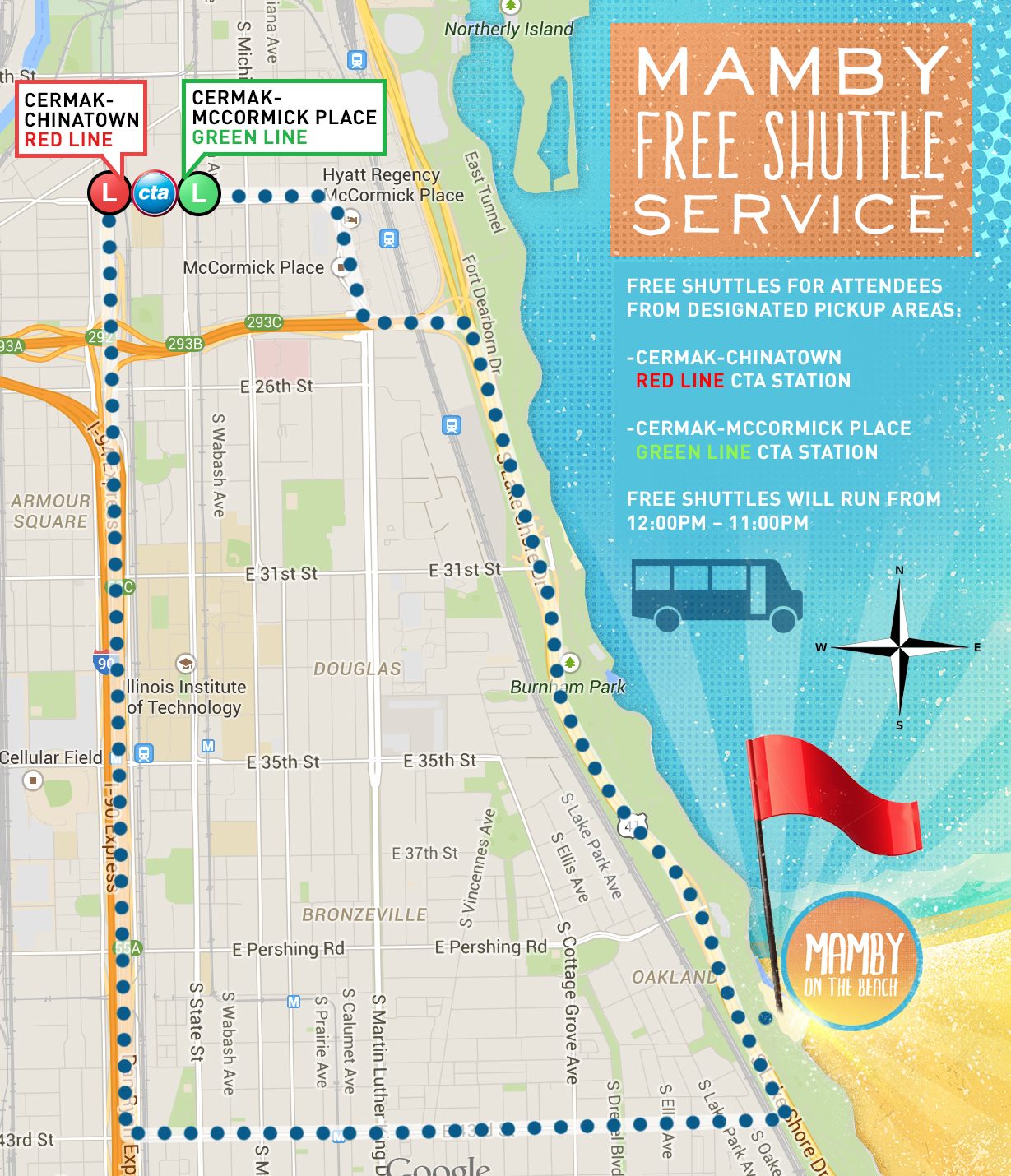 mamby - shuttle bus - map