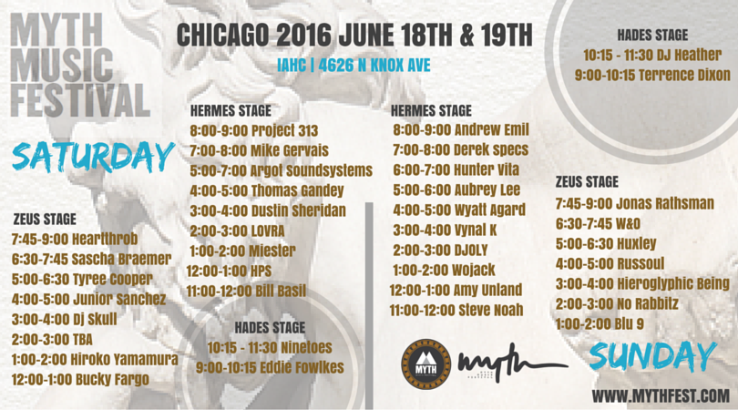 MYTH Festival Daily Schedule & Set Times