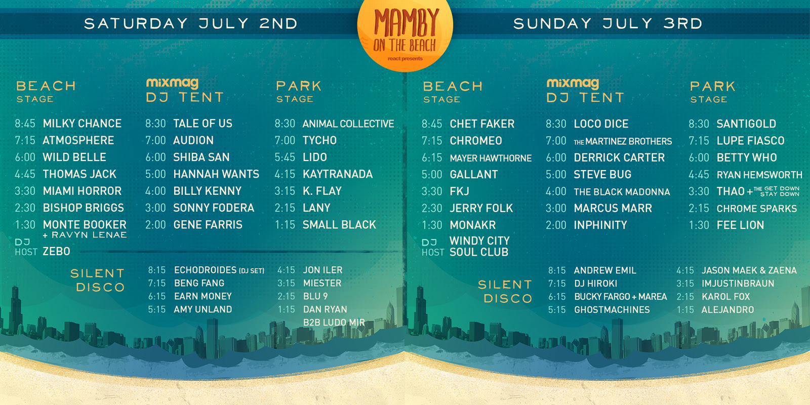 daily set times mamby